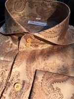 MorCouture Royal Tan Paisley Spread Collar Shirt