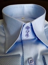 MorCouture Sky Blue Woven 3Button High Collar Shirt -Special order
