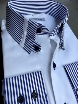 MorCouture Striped Tab Collar Shirt