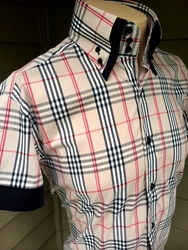 MorCouture  Tan Medium Plaid High Collar Shirt (Short sleeve)