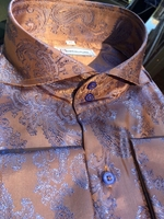 MorCouture Taupe Blue Paisley Spread Collar Shirt -Special Order