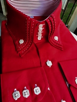 MorCouture Triple Centipede Red stitch Collar Shirt-Custom Order