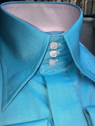 Limited Edition MorCouture Turquoise Pink High Collar Shirt
