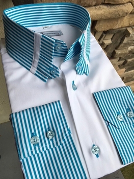 MorCouture Turquoise Striped Tab Collar Shirt