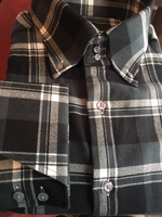 MorCouture Gray Black Flannel High Collar Shirt 17.5