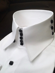 MorCouture White 5-Button 3-Button Side High Collar Shirt