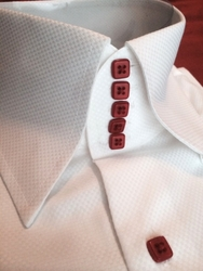 MorCouture White 5 Red Button 'Centipede' High Collar Shirt