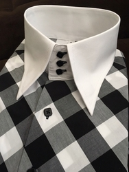 MorCouture White Black Diagonal High Collar Shirt