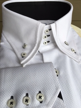 MorCouture White Black Double Collar Shirt -Special Order