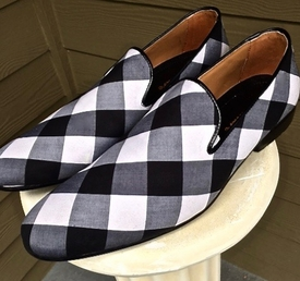 MorCouture White Black Plaid Slipon Shoes