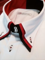 MorCouture White Red Black Triple Collar Shirt L(16- 16.5)