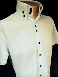 MorCouture White Black Seersucker High Collar Shirt(short or long sleeve)