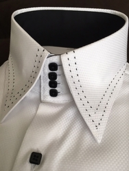 MorCouture White Black Stitch Woven High Collar Shirt