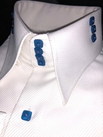 MorCouture White Blue 4/3 High Collar Shirt size L(16 - 16.5)