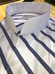 MorCouture White Blue Slant Stripe Band Collar Shirt