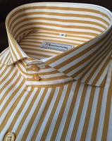 MorCouture White Gold Stripe Short Sleeve Shirt