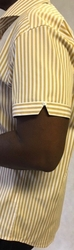 MorCouture White Gold Stripe Short Sleeve Shirt view#2