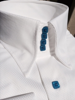 MorCouture White Mid Blue Woven 4 Button High Collar Shirt