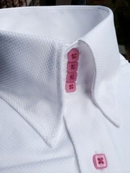 MorCouture White Pink High Collar Shirt
