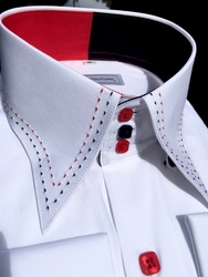 MorCouture White Red Black Stitch High Collar Shirt