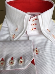 MorCouture White Red Double Collar Shirt-Special Order