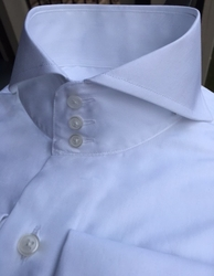 MorCouture 3 Button White Cutaway Collar Shirt
