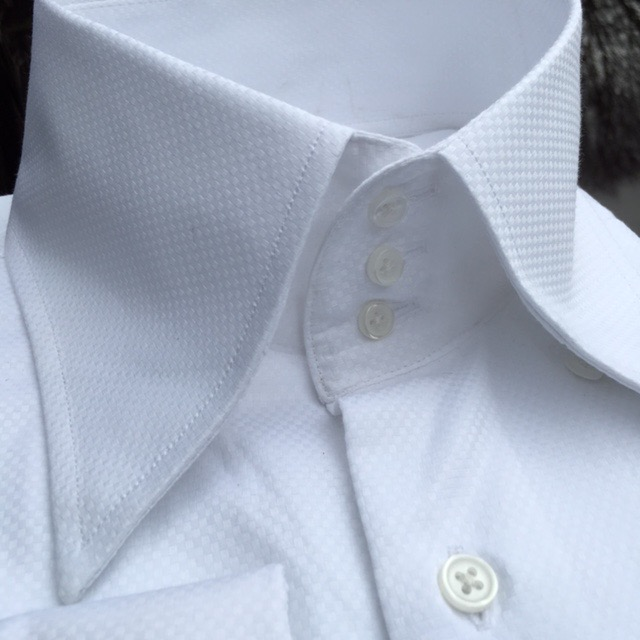 Morcouture white woven 3button high collar shirt for Three button collar shirts