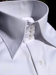 MorCouture White Woven 4 Button High Collar Shirt