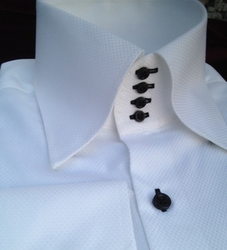 MorCouture White Woven Black 4 Button High Collar shirt