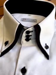 MorCouture White Woven Black Double Collar Shirt