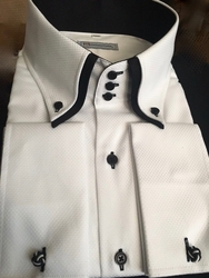 MorCouture White Woven Black Double Collar Shirt -special order