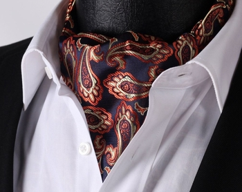 Navy Orange Paisley Silk Ascot. 100% silk. Click image for larger p