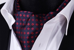 Back ordered---Navy Red Imperial Silk Ascot and Hanky