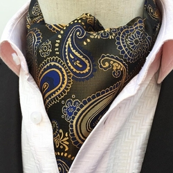 Gold Blue Black Paisley Ascot
