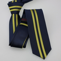 Navy Yellow Stripe Skinny Tie
