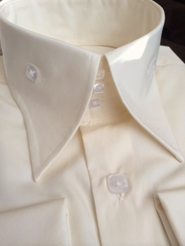 New Angelino Ivory Cotton High Collar Shirt