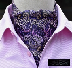 New Purple Paisley Silk Ascot