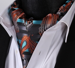 Orange Aqua Black Paisley Stripe Silk Ascot