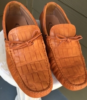 Orange Leather Croc Driving Loafers size 11