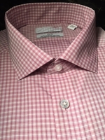 Pink White Patterned Spread Collar Dress Shirt size 17 slimfit