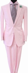Pink White Seersucker Suit 44L
