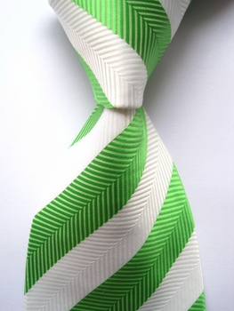Lime and  White Wide Herringbone Stripe Necktie
