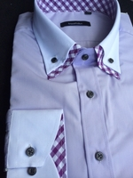Purple Gingham Accent Double Collar Shirt