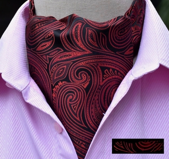 Red Black Paisley Swirl Silk Ascot