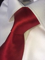 Red Herringbone Woven Stripe Necktie w/Matching Hanky