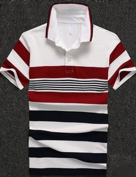 White Red Navy Stripe Polo Shirt size XL
