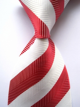 Red White Wide Herringbone Stripe Silk Necktie