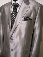 Silver with White Pinstripe Suit