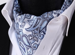 Light Sky Pasiley Silk Ascot and Hanky