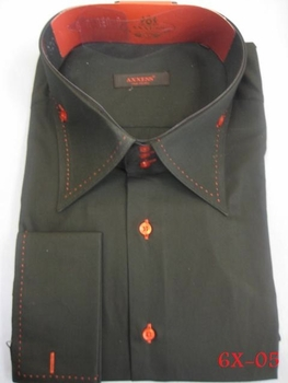 Sold Out -Axxess Black Red Stitch High Collar shirt  size 6XL (21.5 - 22)